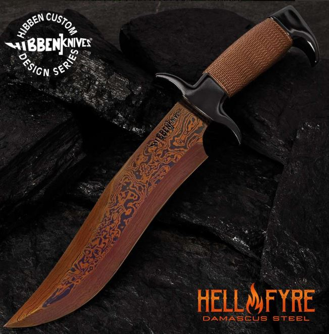 UC Gil Hibben Hellfyre Highlander Damascus Bowie, Leather Sheath, GH5089 (Online Only)