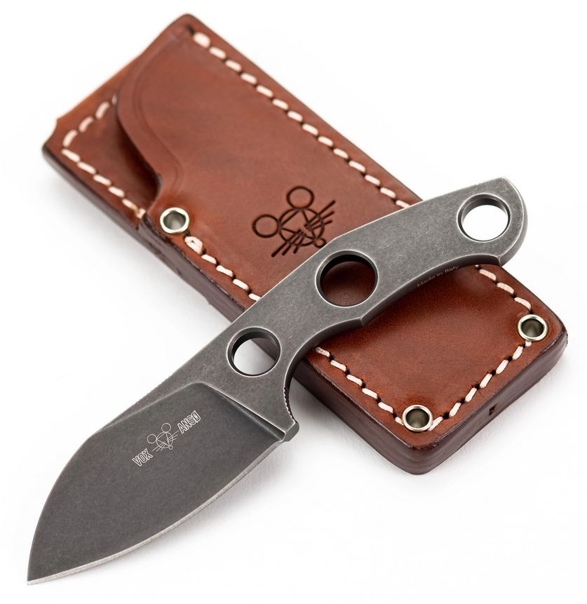 GiantMouse GMF1-F M390 PVD Fixed Blade w/ Leather Sheath