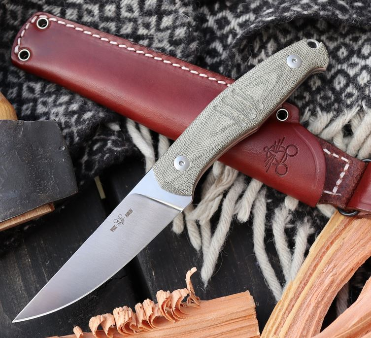 GiantMouse GMF2-FF M390 Fixed Blade w/ Leather Sheath