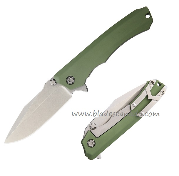 Heretic Wraith Manual Folder CPM-154, Green Aluminum Handle 12AGR