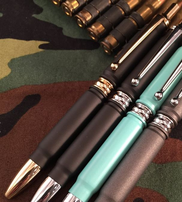 High Caliber Click Bullet Pen Black - Gold