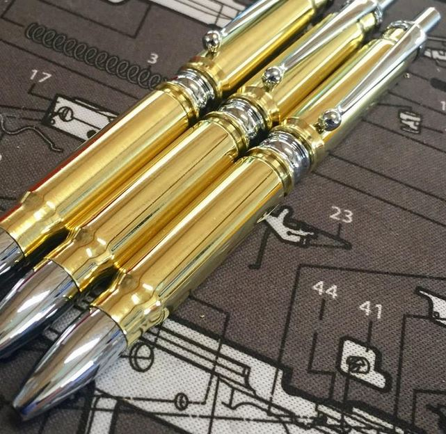High Caliber Click Bullet Pen Brass - Chrome