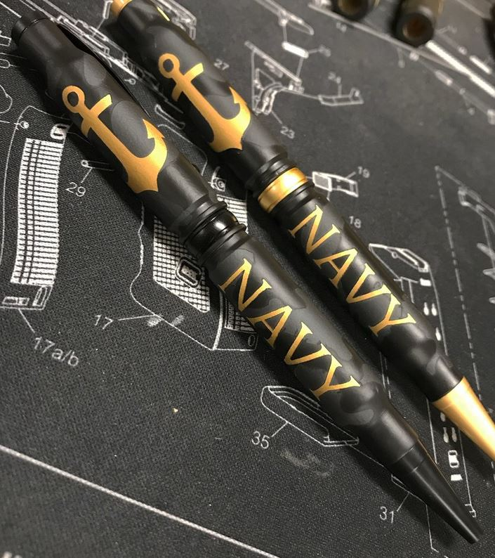 High Caliber 308 Navy Camo Pen - Black
