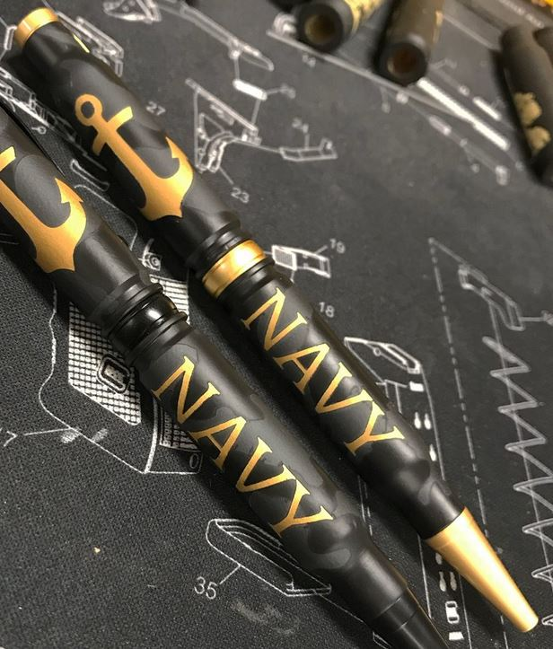 High Caliber 308 Navy Camo Pen - Satin Gold