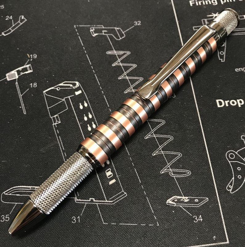 High Caliber Saber Knurl Twist Pen Copper - Gunmetal