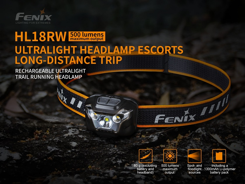 Fenix HL18RW Rechargeable Running Headlamp[Bright White]-500 Lms