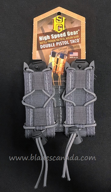 High Speed Gear 11PT02WG Double Pistol Taco MOLLE- Wolf Grey