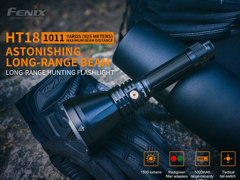 Fenix HT18 Long Range Handheld Flashlight - 1500 Lumens