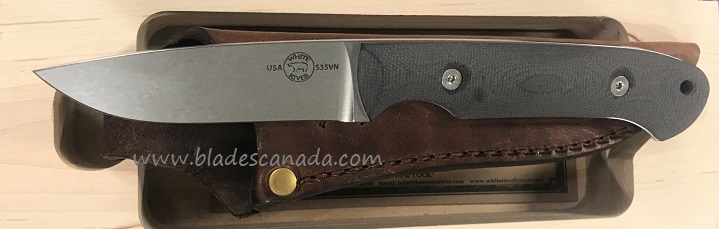 White River Hunter S35VN Blade Black Micarta, Leather Sheath
