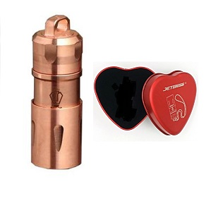 JETBeam Mini-1 Copper Flashlight in Heart Gift Tin - 130 Lumens