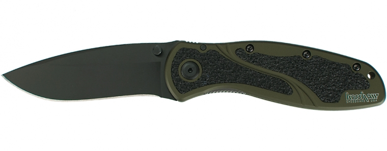 Kershaw 1670OLBLK Blur Olive Drab Plain Edge Assisted Opening