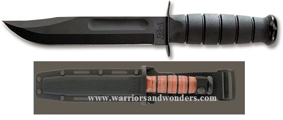 Ka-Bar 1213 Black Straight Edge Knife W/ Hard Sheath
