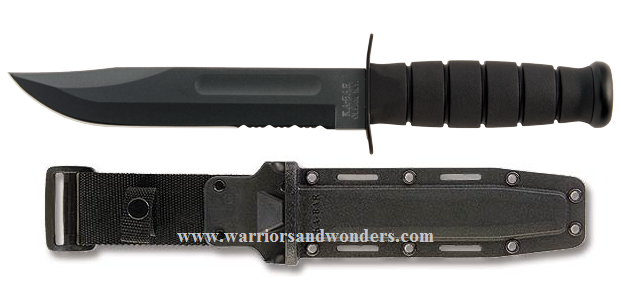 Ka-Bar 1214 All Black Serrated Knife w/Hard Sheath