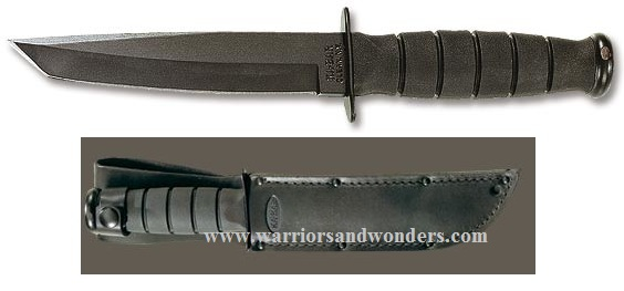 Ka-Bar 1254 Short Black Tanto w/Leather Sheath (Online Only)
