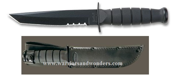 Ka-Bar 1255 Black Short Tanto w/Leather Sheath (Online Only)