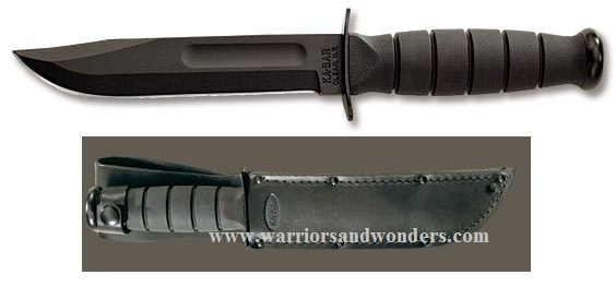 Ka-Bar 1256 Black Short w/Leather Sheath