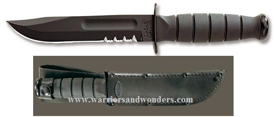 Ka-Bar 1257 Black Short Serrated w/Leather Sheath