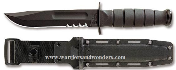 Ka-Bar 1259 Short Black w/ Serration, Hard Sheath