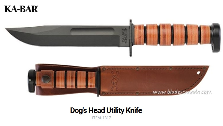 Ka-Bar 1317 Dog's Head Utility Knife w/ Leather Sheath