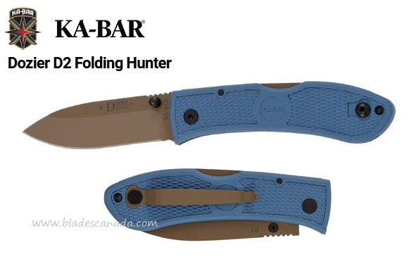 Ka-Bar Knives Dozier D2 Folding Hunter, Blue, Ka4062D2