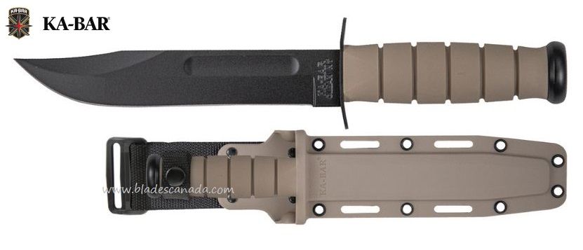 Ka-Bar Full Size Tan Fighting Knife, 1095 Cro-Van, w/Hard Sheath Ka5013