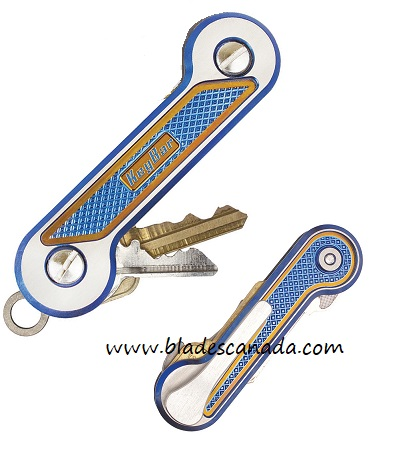 KeyBar Titanium Crosshatch Blue/Bronze with Satin Clip