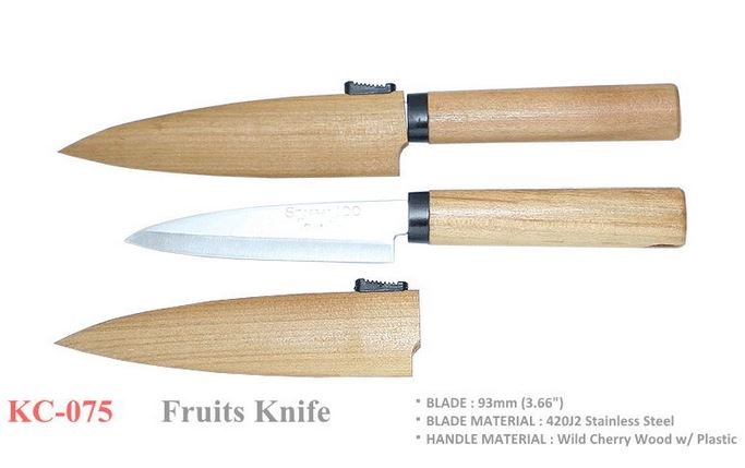 "Kanetsune KC-075 Fruits Knife 3.6"" Cherry Wood"