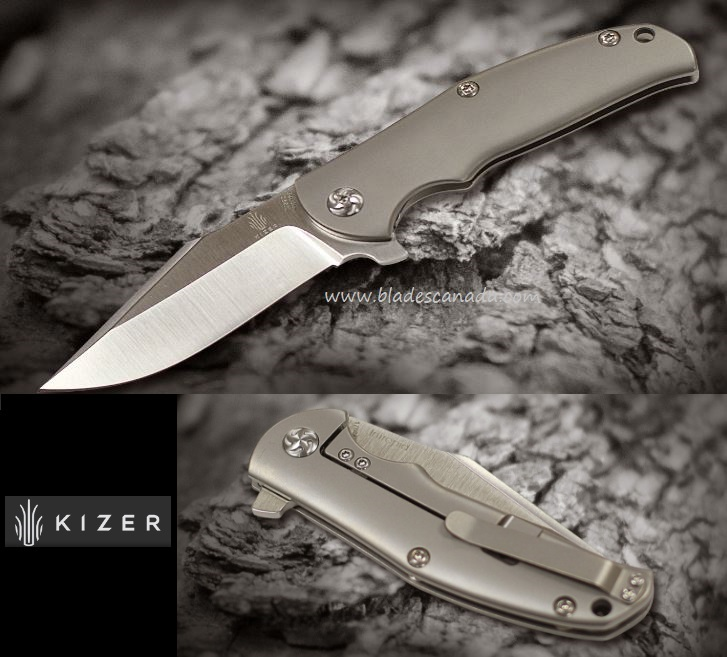 Kizer Cutlery 3468 Intrepid M390 Framelock, Titanium Handle
