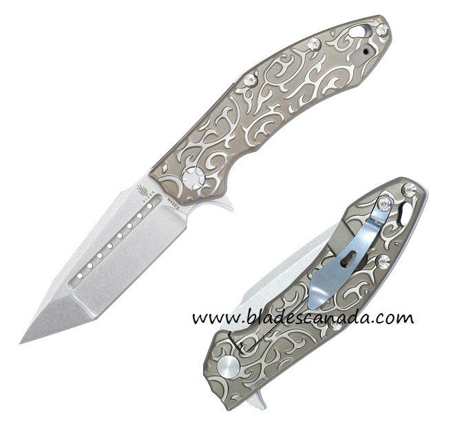 Kizer 4431T IKBS Titanium Framelock Tanto S35VN Scroll Folder
