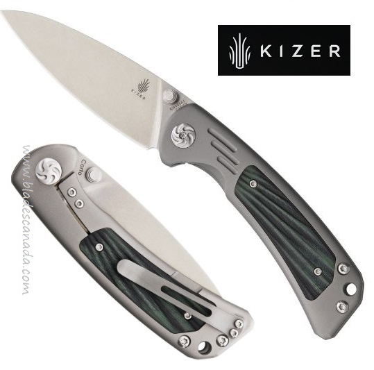 Kizer Cutlery 4459A1 Corto S35VN Titanium with Green/Black G-10