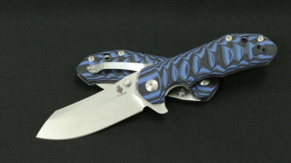 Kizer Vanguard V4423A2 Sovereign A2 - Blue Patterned G10 Handle
