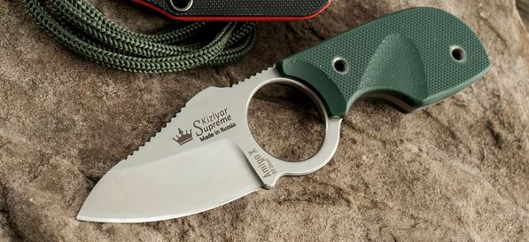 Kizlyar KK0087 Amigo-X Satin D2 Green G-10 Neck Knife