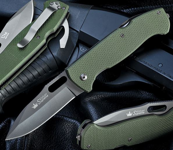 Kizlyar KK0111 Ute 440C Grey Ti Folder Green G-10 (Online Only)