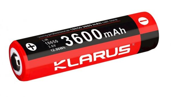 Klarus LiR Rechargeable 18650 Button Top Battery - 3600 mAh