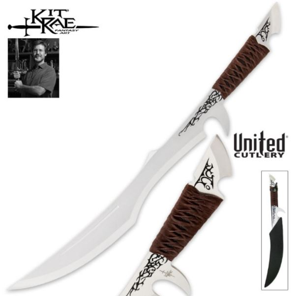 United KR0070 Kit Rae Mithlotok Short Sword w/ Leather Sheath