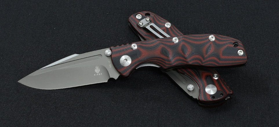 Kizer V4412A2 Bolt A2 - Red Pattern G10 Handle