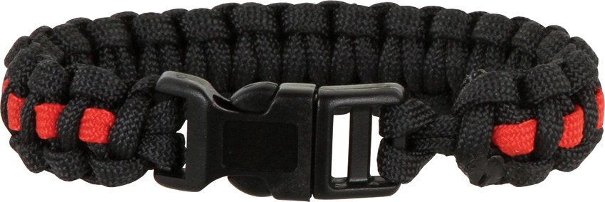 Knotty Boys 302 Paracord Bracelet Black/Red - Large