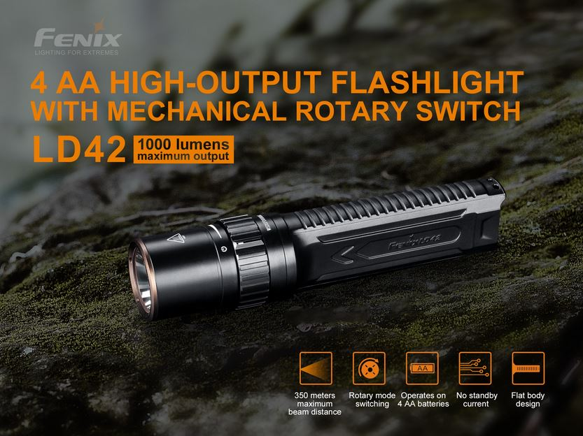 Fenix LD42 Handheld Flashlight w/Rotary Switching - 1000 Lumens