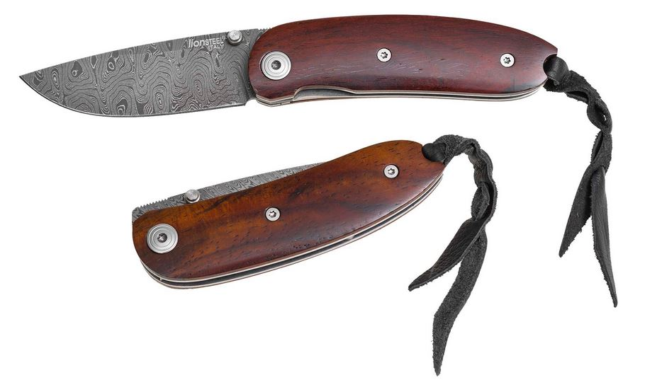 Lion Steel 8210D Mini Damascus - Santos Wood