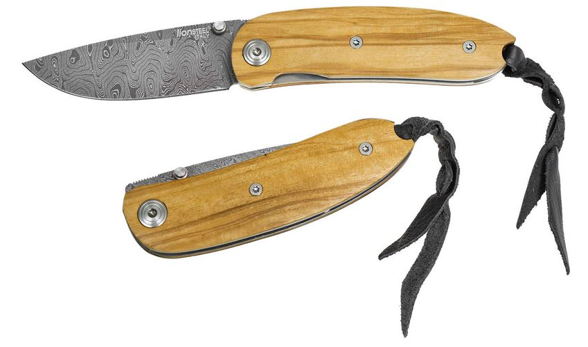 Lion Steel 8210D Mini Damascus - Olive Wood
