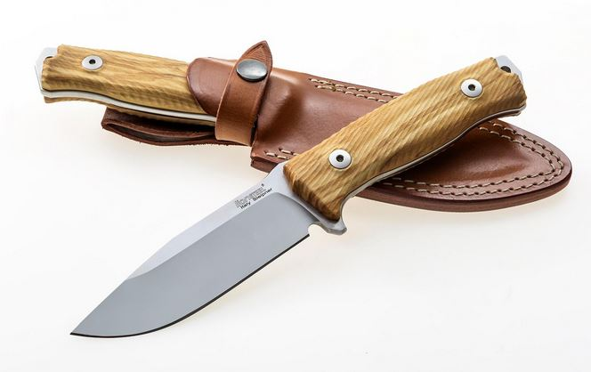 Lion Steel M5UL Olive Wood w/ Leather Sheath