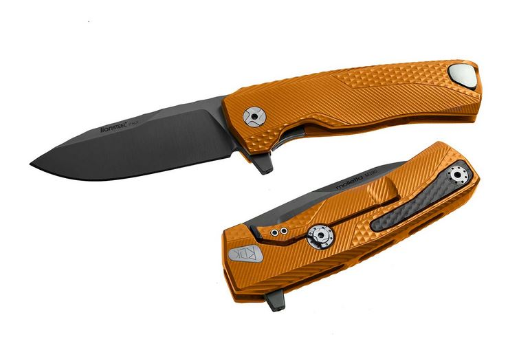 Lion Steel ROK-A-OB ROK Aluminum Orange, Black Blade