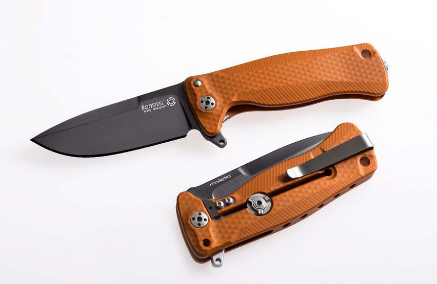 Lion Steel SR-22AOB Aluminum Black Blade, Orange Handle