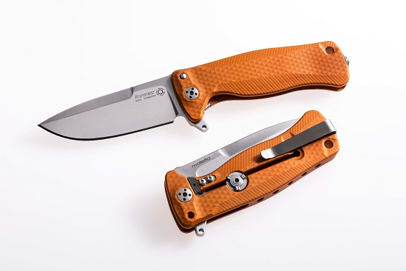 Lion Steel SR-22AOS Aluminum Satin Blade, Orange Handle