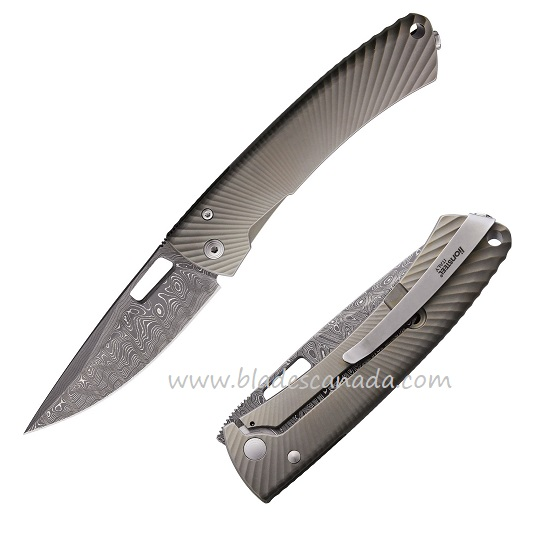 Lion Steel TS1DSBM Ti Spine Damascus - Matte Bronze
