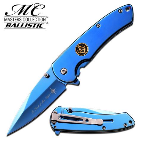 Masters Collection MCA015BL Blue Mirror Framelock (Online Only)