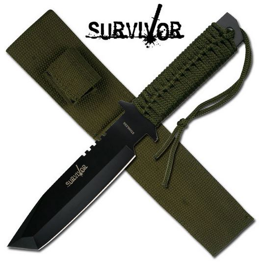 SurviVor HK7524 Cord Wrapped Tanto Fixed Blade (Online Only)