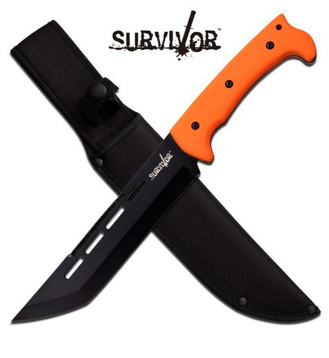 MC SurviVor HK776OR Tanto Fixed Blade - Orange (Online Only)