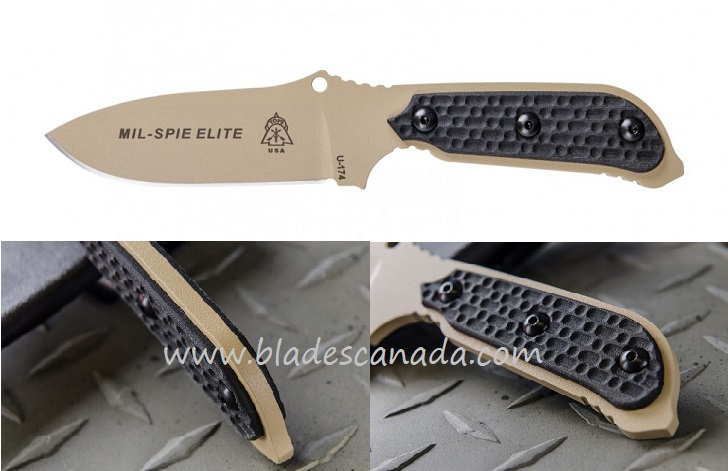 TOPS Mil-Spie 3 Elite w/ Kydex Sheath - Black Canvas Micarta