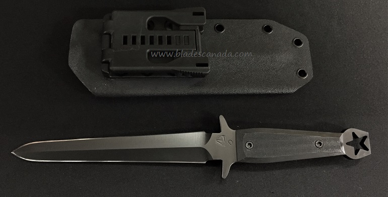 Medford FS Dagger Black G10, Black PVD Blade with Kydex Sheath